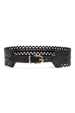 Hole-patterned waist belt - Black - Ladies | H&M 1